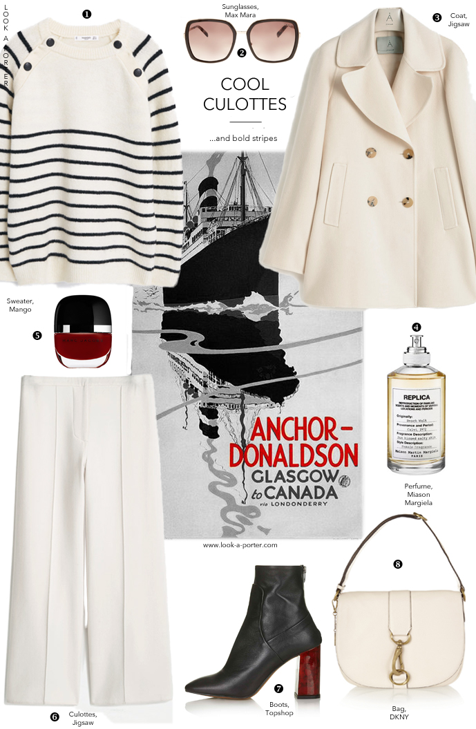 Naughty nauticals, culottes and whites with a touch of lipstick red here and there via www.look-a-porter.com style & fashion blog, outfit inspiration delivered daily