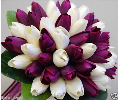 purple and white bouquet, purple and white tulip bouquet