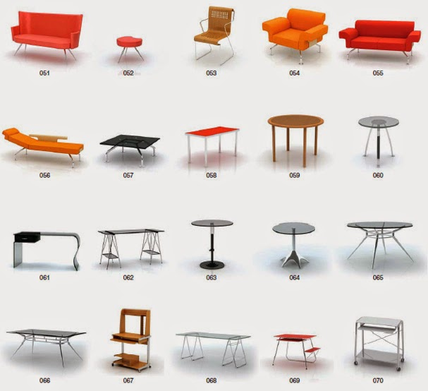 Archmodels archmodels vol 8 sillas sillones mesas for Muebles de oficina 3d model