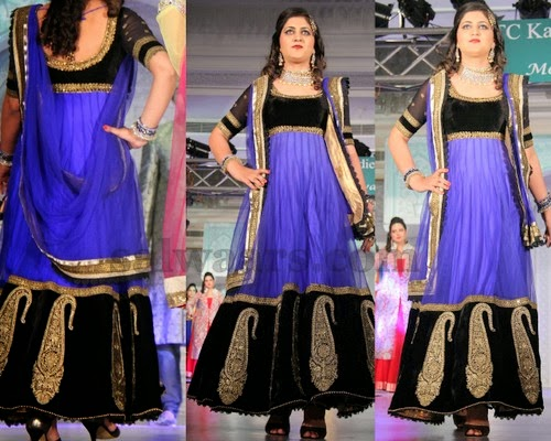 Velvet Salwar Suit in Black and Purple