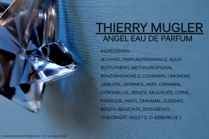 Angel Thierry Mugler Eau de Parfum Ingredients Designer Perfumes Fragrances for Women EDP Blog Reviews