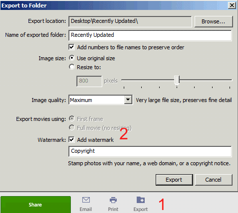 Settings for adding watermark
