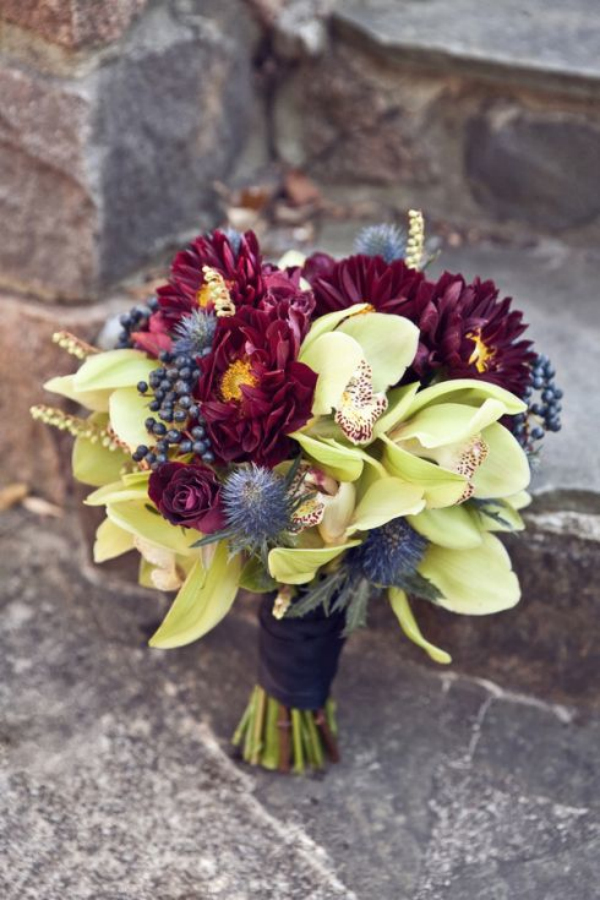 purple fall wedding bouquets with orchids