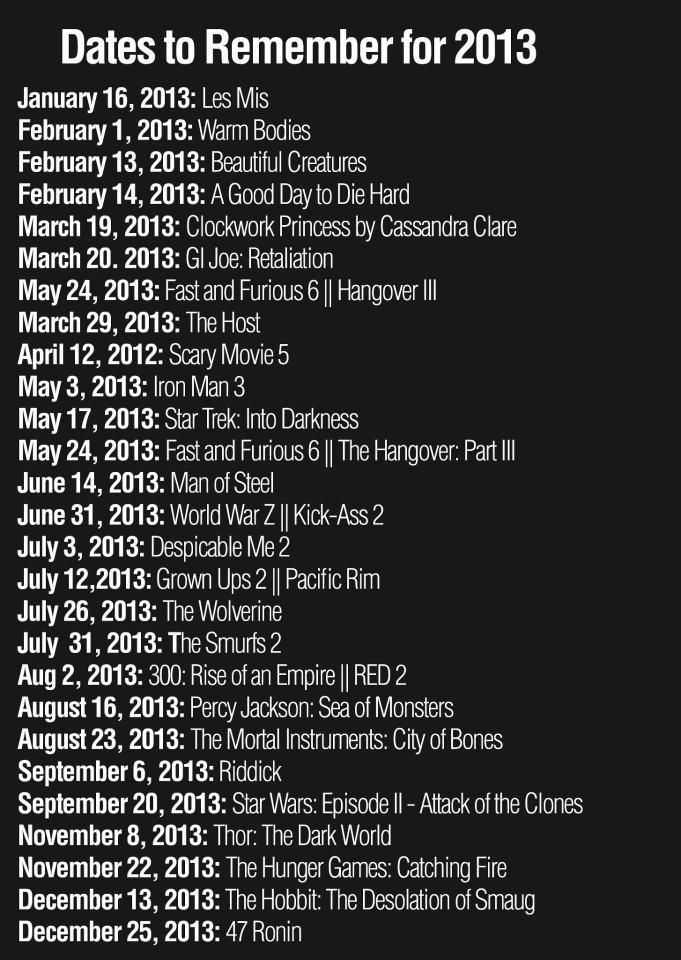2013 list of movies to look forward to and dates
