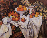 still life painting of apples and oranges by Paul Cézanne a French artist and Post-Impressionist painter (1839–1906)