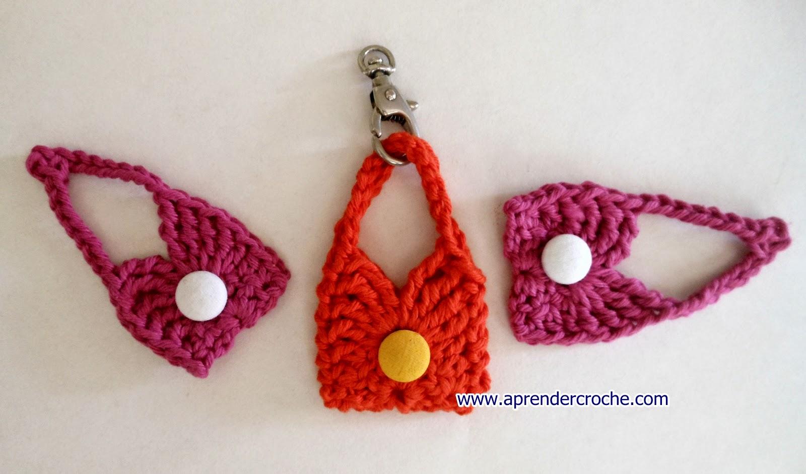 aprender croche com mini bolsas para chaveiros lembrancinhas ou decoração