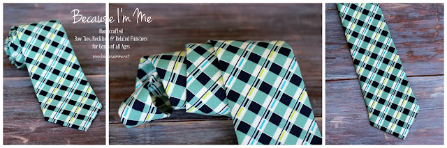 Styling navy blue and white plaid cotton necktie for men and boys