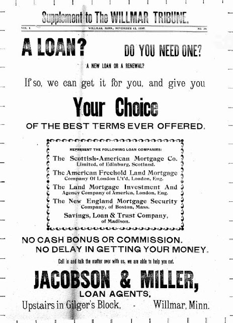 Sample mortgage broker advertisement from the Willmar Tribune, circa 1895