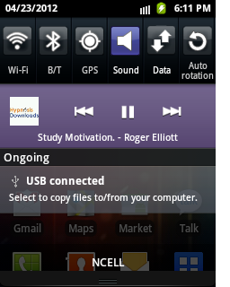 Andro-id v3.3.1 Notification Window with Toggles
