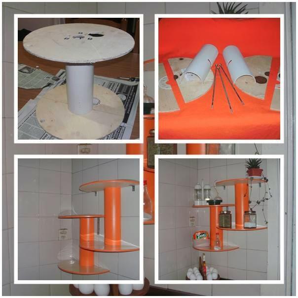 Reciclar carretes de cables para hacer una repisa de cocina
