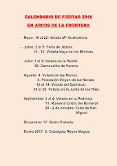 CALENDARIO DE FIESTA ARCOS 2016