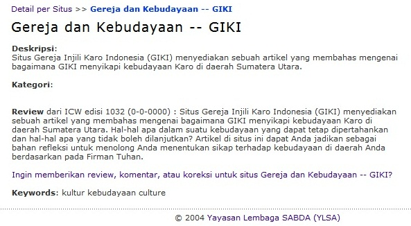 Review dari ICW terhadap situs Gereja Injili Karo Indonesia(GIKI) yang termuat dalam situs sabda.org