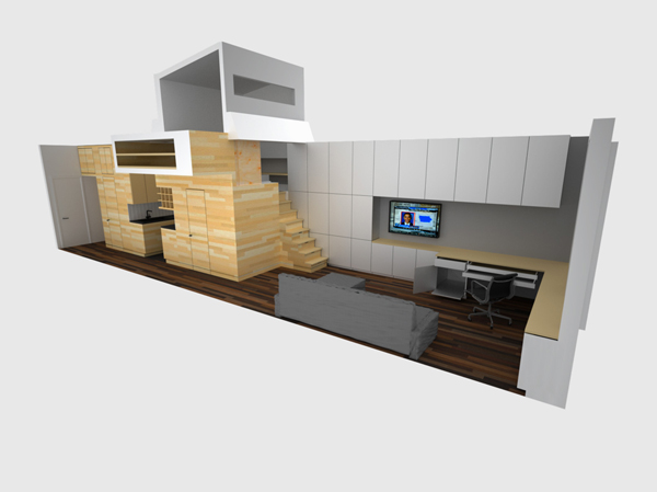 3D illustration showing living room area interiors