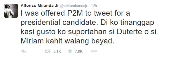 Chito Miranda Rejects P2M Offer to Tweet A Presidential Bet