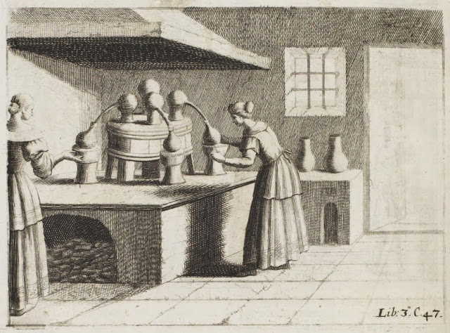 17th century engraving - heating distilling flasks
