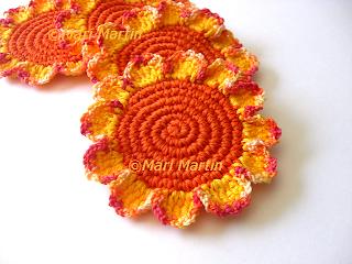 Crochet Coasters Orange Mix Flowers