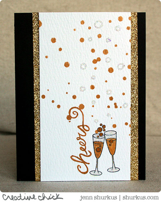 Cheers Champange Card by Jenn Shurkus | Years of Cheers stamp set by Newton's Nook Designs