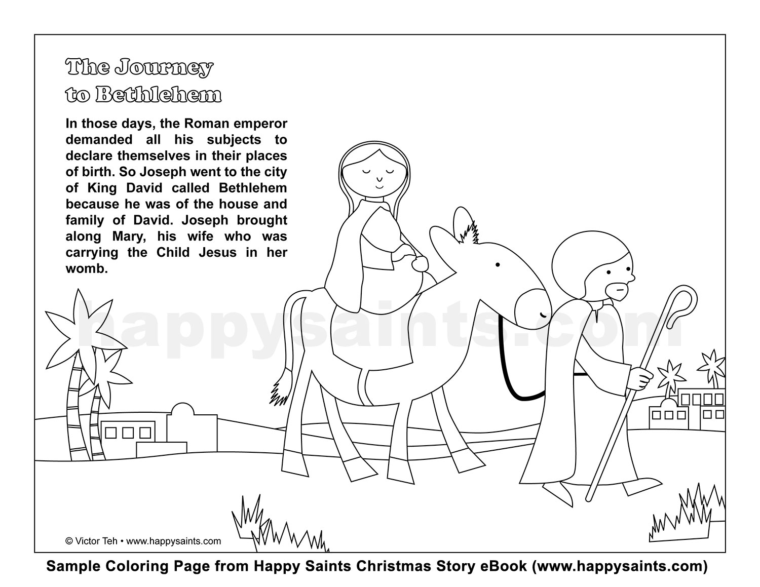 Journey To Bethlehem Coloring Page