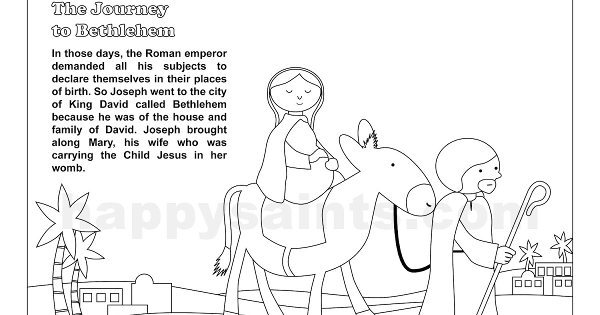 Happy Saints Journey To Bethlehem Coloring Page