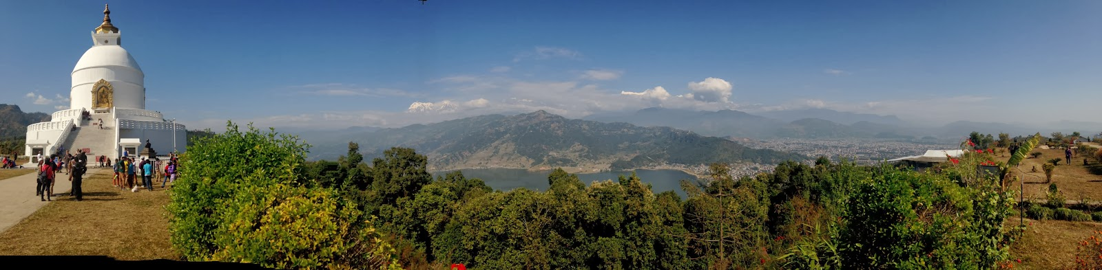 panoramic view from the world peace pagoda pokhara