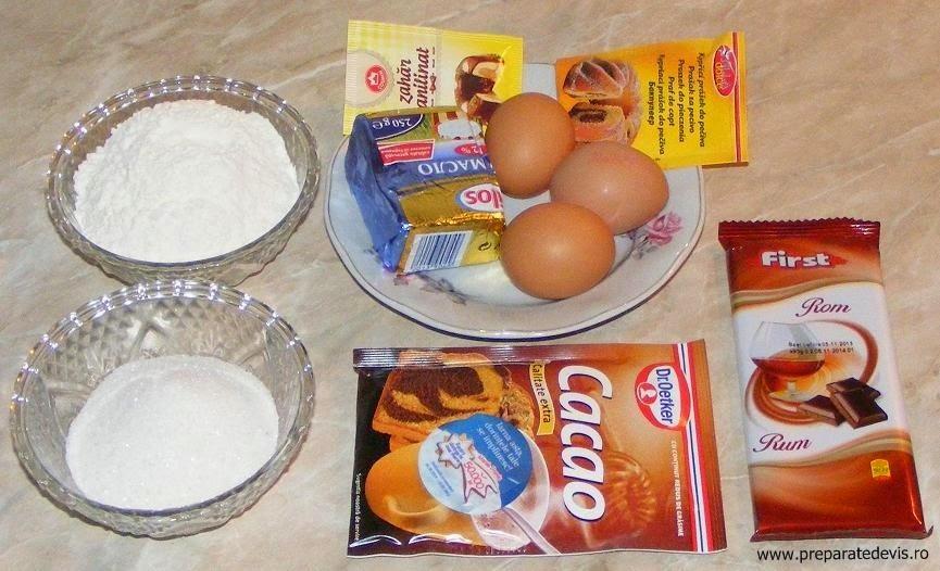 ingrediente madlene cu ciocolata, ingrediente briose cu ciocolata, retete culinare, ingrediente dulciuri si prajituri de casa,