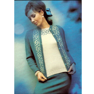 Cardigan and shell knitting pattern in contrast colors