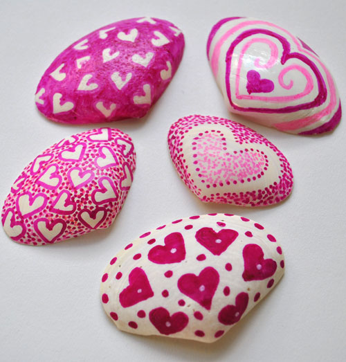 valentine shells with sharpies