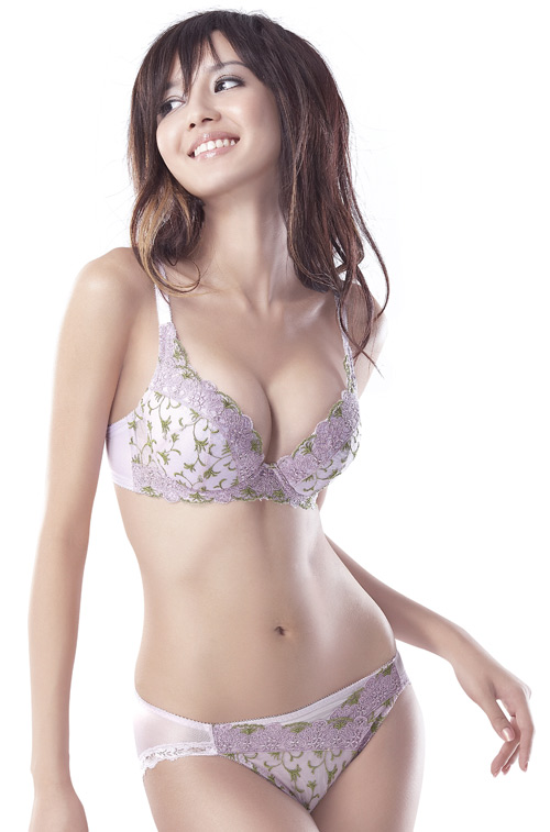 Sexy Chinese girl wearing bra advertising photos