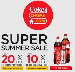 Coke2Home Super Summer Sale: Upto 15% Off + Extra 20% or 10% Off on Coca Cola | Thumsup | Fanta | Limca | Sprite | Maza & more (For Bangalore, Chennai , Hyderabad & Ahmedabad Customers)