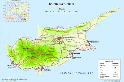 Mapa de Chipre Regional Geografia