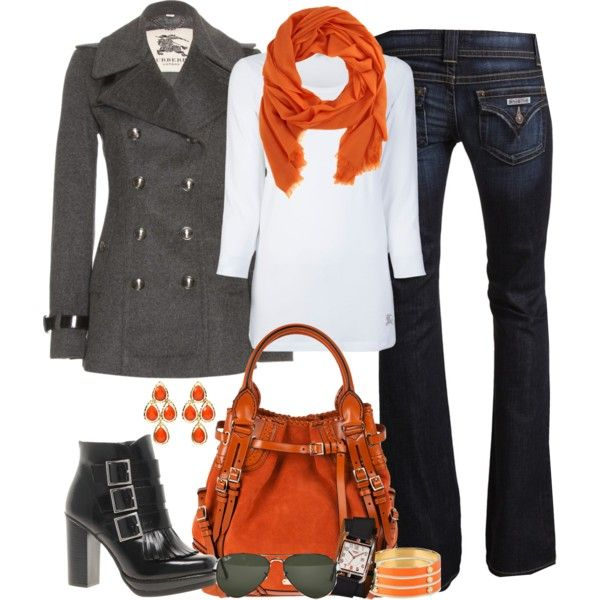 Colorful winter style with belted pea coat