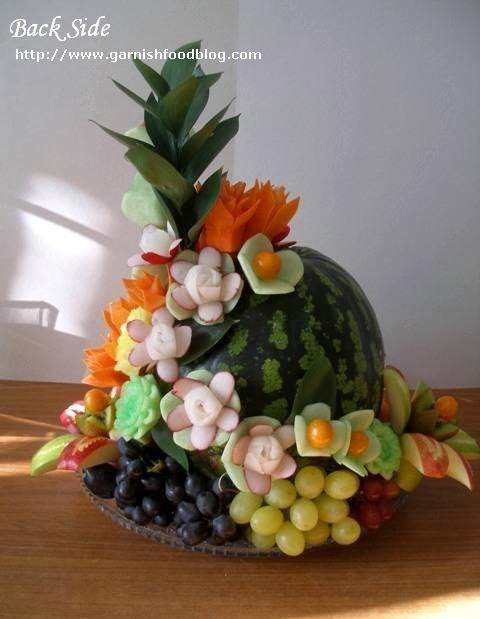 watermelon carving arrangement and fruit plate
