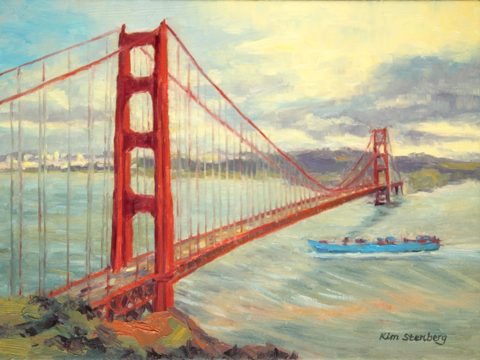 Golden Gate Bridge on a Windy Day quot   oil on stretched canvas  12 quot  x 16    Golden Gate Bridge At Day