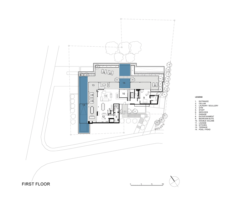 First floor plan of Beautiful Plett 6541+2 Home by SAOTA