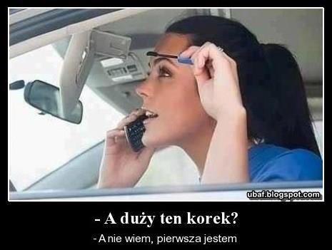 kobieta za kierownicą, w korku, zabawne, memy ~ Śmieszne ... Lubicie Wesołe Kobiety