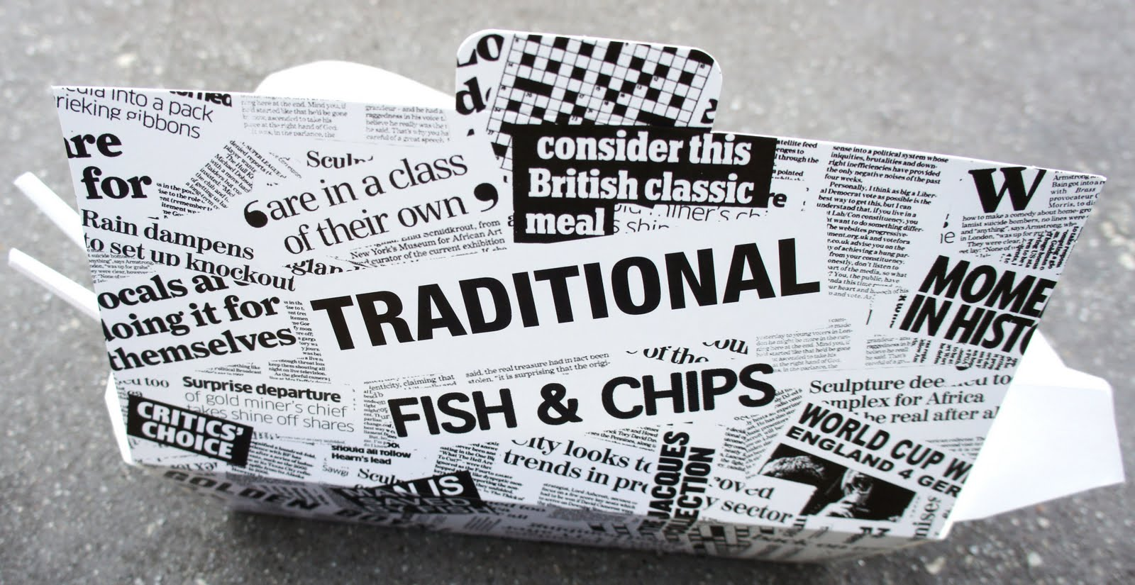 how to fold newspaper for fish and chips