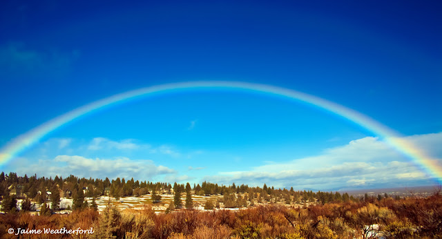 Jaime Weatherford snow rain wind rainbow Bend Oregon
