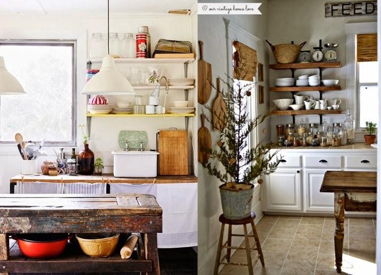 Cocinas campestres con aires vintage