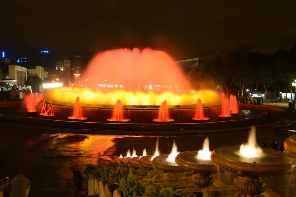 Barcelona by night water on fire