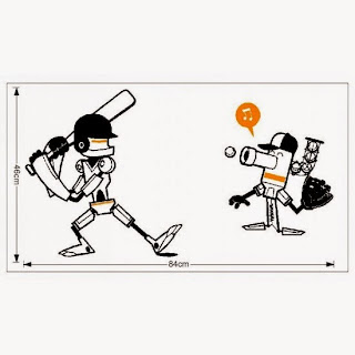wall decal robots baseball