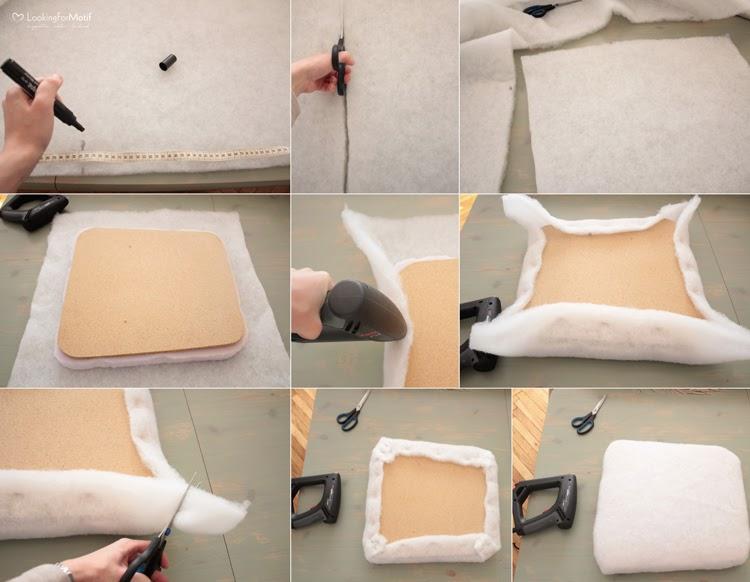 DIY, zrób to sam, przemiana krzesła, zmaina tapicerki na krześle, drewniane krzesło z szarym obiciem - tutorial