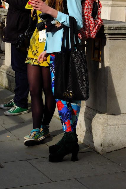 Fashionista with patterned trouseurs at lfw aw13