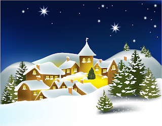 雪景色の聖夜の背景 cartoon christmas house background イラスト素材