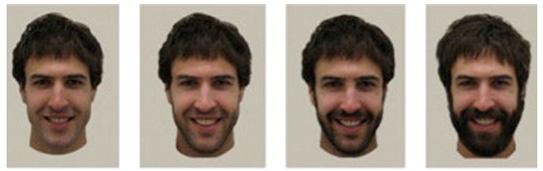 Un hombre afeitado, con barba de 3-5 días, con barba de 1 semana-10 días, y con barba completa.