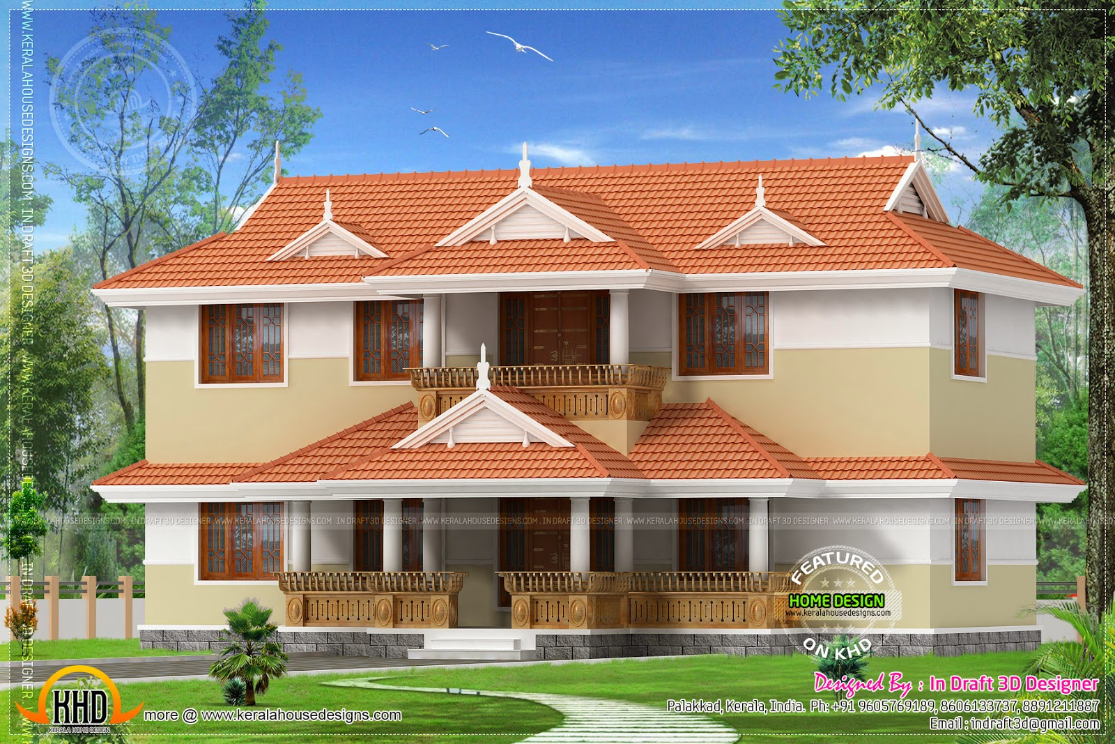 4 bed room traditional kerala home with courtyard kerala for Kerala traditional home plans