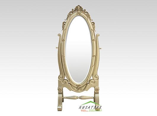 French Style Standing Mirror in Gold Finish Amos