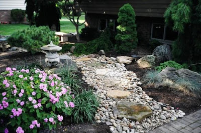 asian inspired dry stream bed