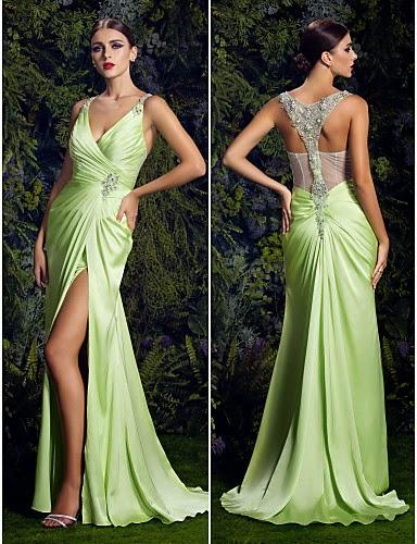 Vestido de NOche Verde Gasa con Cuello en V