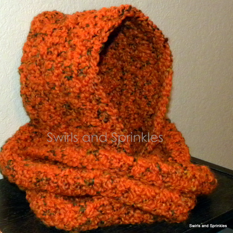 Free Crochet Pattern For Infinity Scarf With Hood : Swirls and Sprinkles: Chunky Hooded Infinity Scarf