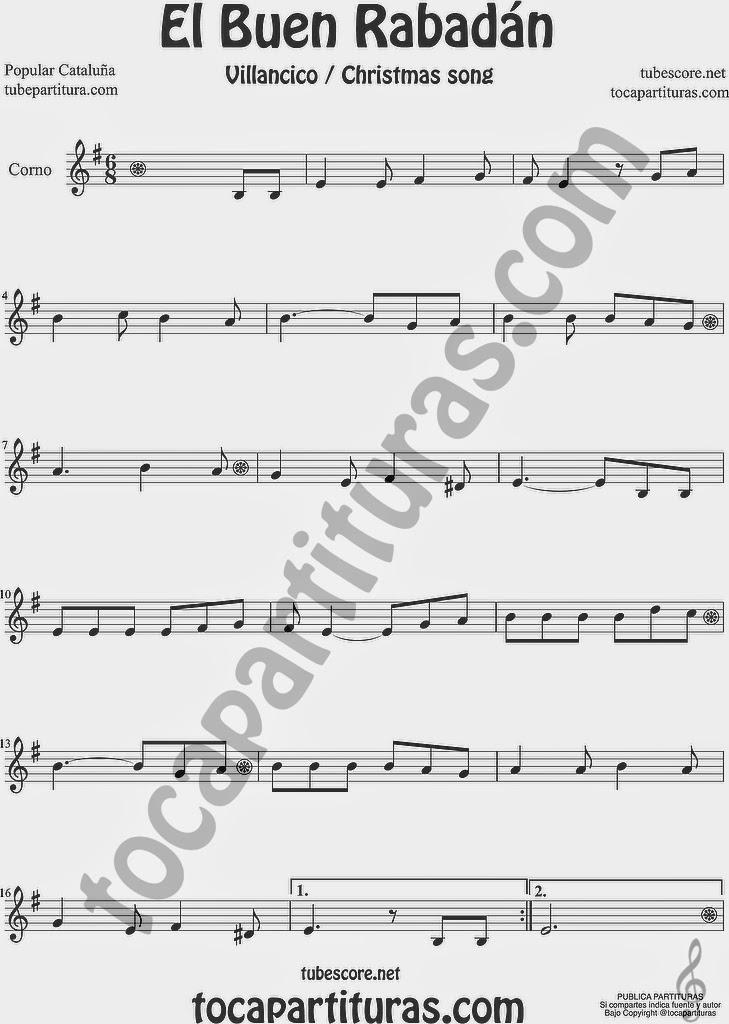 El Buen Rabadán Partitura de Trompa y Corno Francés en Mi bemol Sheet Music for French Horn Music Scores Villancico Christmas Carol
